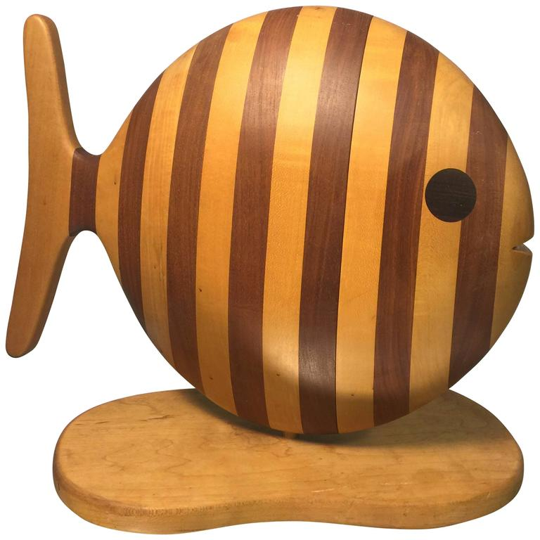 Magnificent Modern Striped Fish Exotic Wood Jewelry Box Or