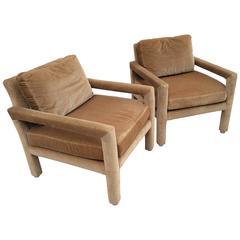 Drexel Heritage Parsons Arm Lounge Club Chairs Camel Velvet Vintage Pair