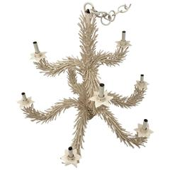 Vintage Two-Tier Coral Tole Metal Chandelier Eight Light Palm Beach Monumental