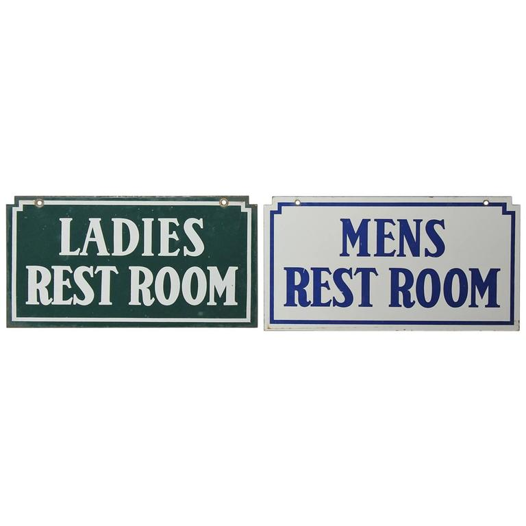 1930s American Gas Station Enamel Restroom Signs