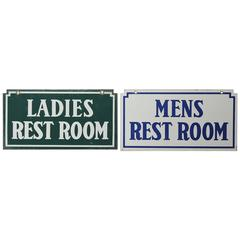 1930s American Gas Station Enamel Restroom Signs