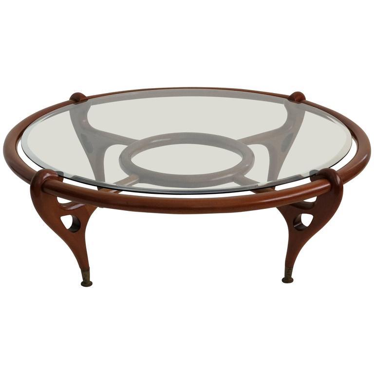 Round Mahogany Coffee Table Attributed To Eugenio Escudero Circa 1960 At 1stdibs