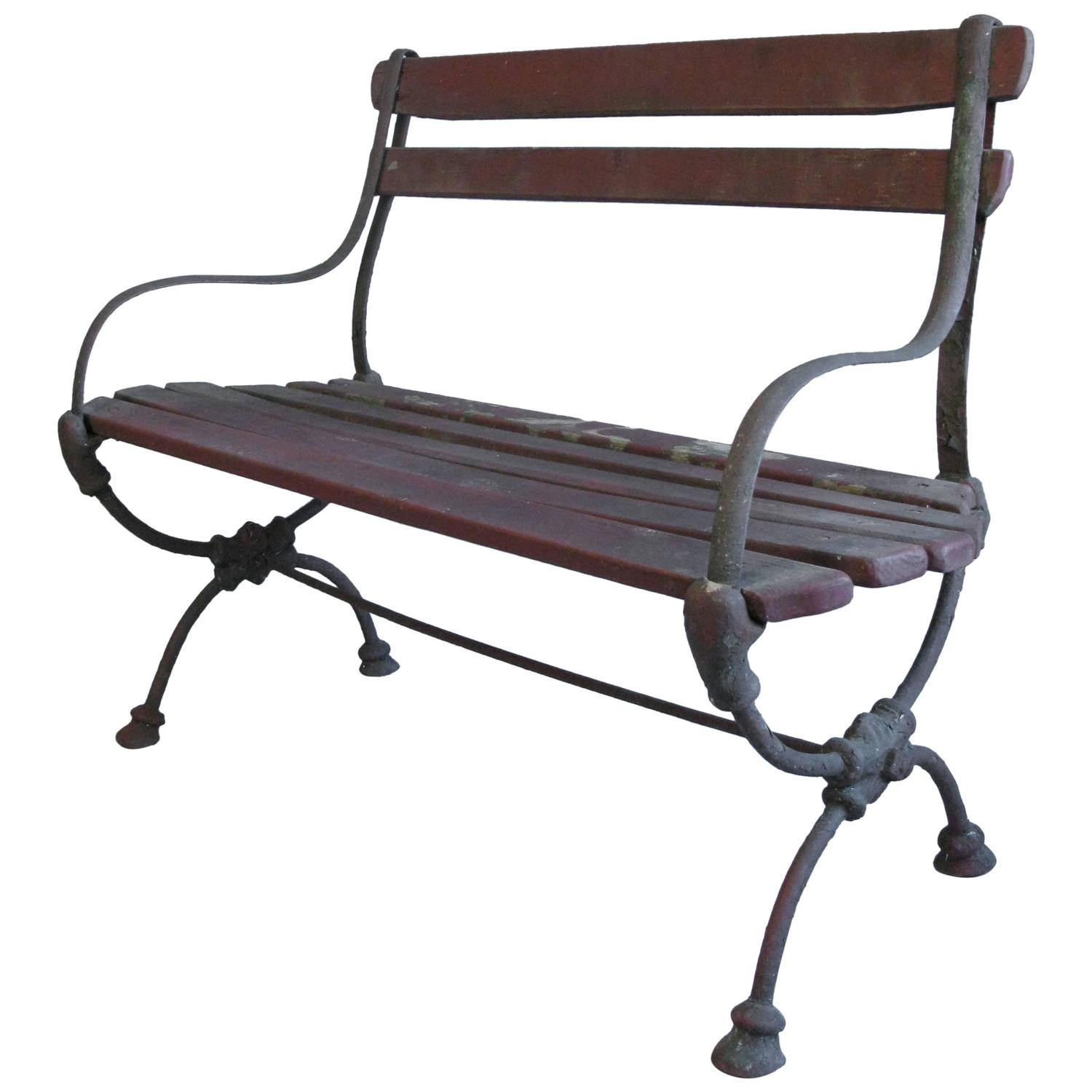 19th century wood and iron garden bench at 1stdibs - Wood and iron garden bench ...