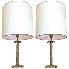 Maison Baguès Rare Superb Gold Bronze Pair of Refined Palm Table Lamps