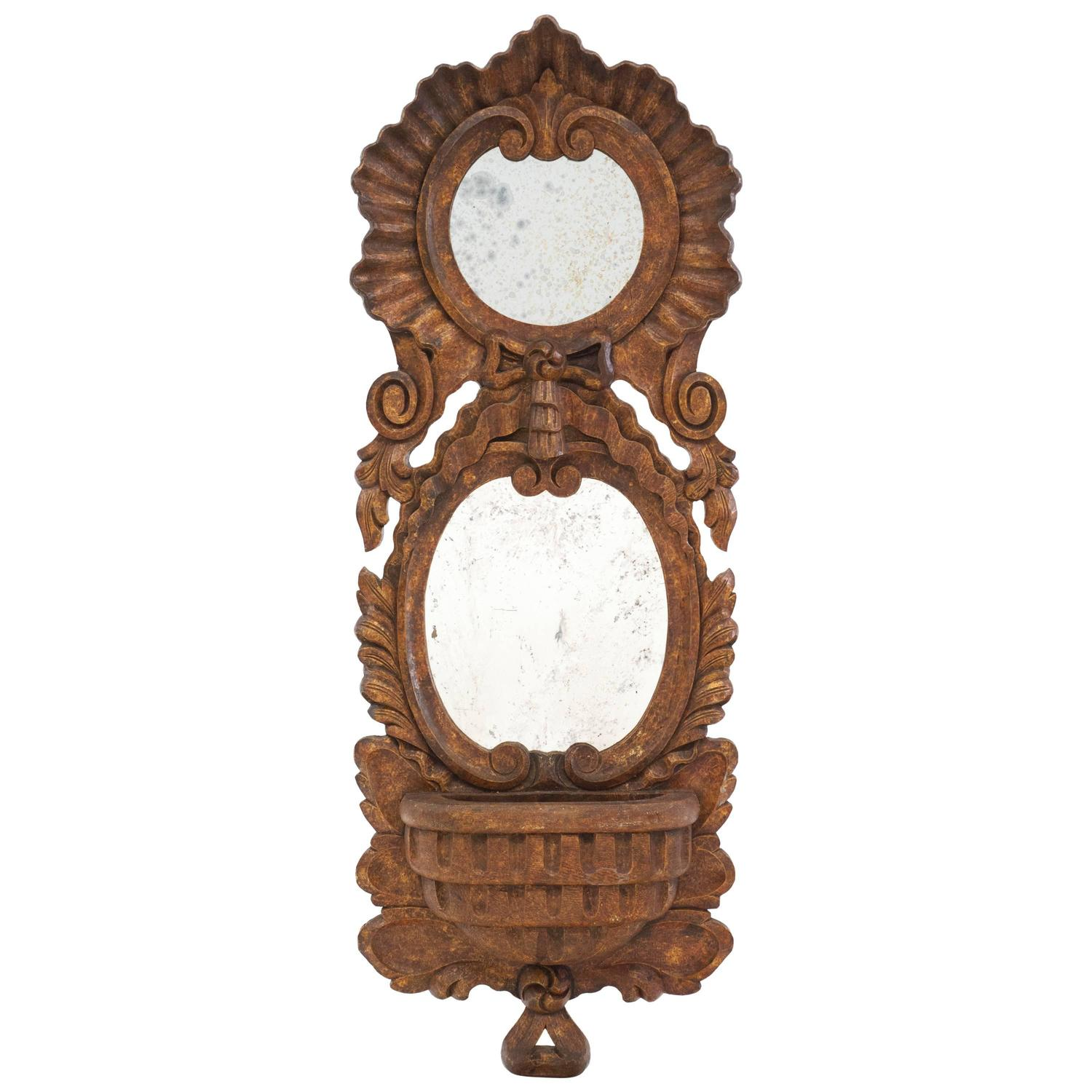 Chapman hand carved tall mirror with planter for sale at for Tall mirrors for sale