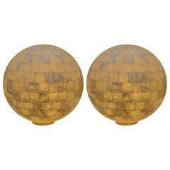 Pair of White Onyx Globe Lights