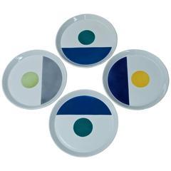 Set Four 1960s Polychromatic Fantasia Italiana Plates Gio Ponti Italy Pozzi