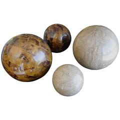 Set of Four Maitland Smith Tessellated Stone Spheres