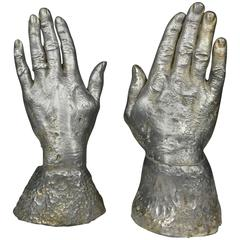 Solid Lead Sculpture Bookends of Two Hands, USA, 1970s