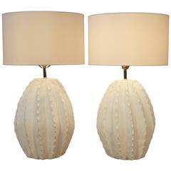 Pair of Vintage Cactus Ceramic Lamps
