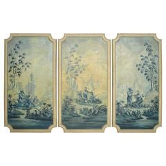 French Louis XVI Style Chinoiserie Decorated Oil on Canvas Paintings