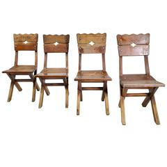 Set of Four Mexican Mahogany Chairs