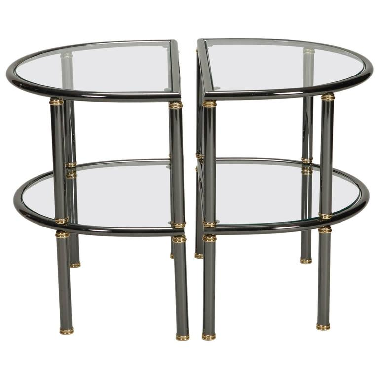 Pair of Mid-Century Demilune Gun Metal and Glass Side Tables
