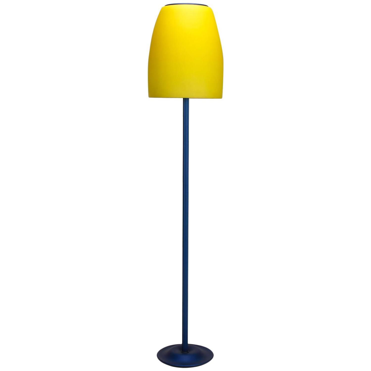 Blue and yellow memphis floor lamp with glass shade for for Macey floor lamp yellow