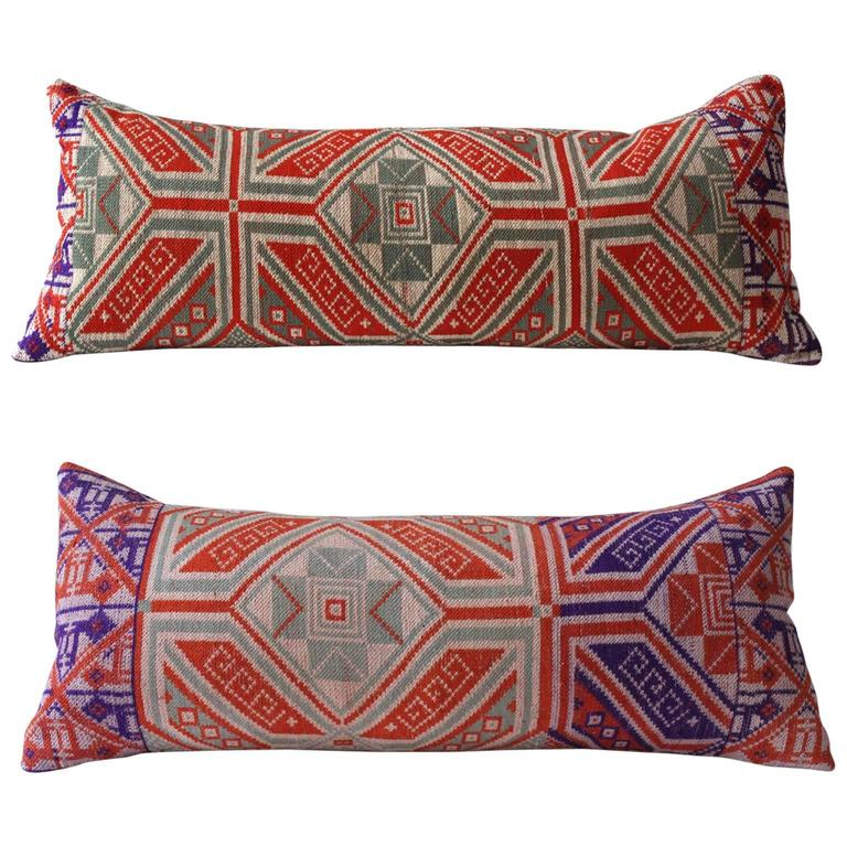 Long Decorative Lumbar Pillow : Geometric Tai Jay Pillow, Long Lumbar in Orange, Purple and Greens For Sale at 1stdibs