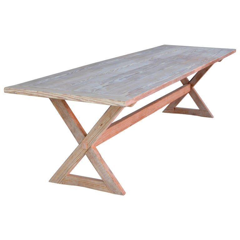 Trestle Table built in Vintage Heart Pine, Custom Made by Petersen Antiques For Sale