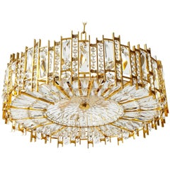 Palwa Chandelier Pendant Light, Gilt Brass and Crystal Glass, 1970