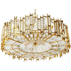 Palwa Chandelier Pendant Light, Gilt Brass and Crystal Glass, 1960s