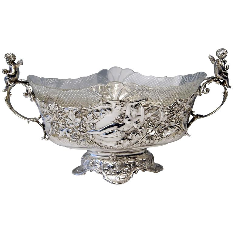 Silver Austrian Huge Flower Bowl Original Glass Karl Jedlicka Vienna, circa 1900