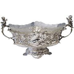 Silver Austrian Huge Flower Bowl Original Glass Karl Jedlicka Vienna, circa 1900