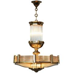 Fine French Art Deco Octagonal Bronze and Glass Chandelier by Petitot
