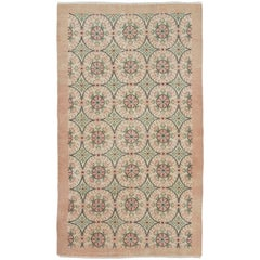 Floral Mid-Century Anatolian Rug in Soft Coral Pink and Green Colors