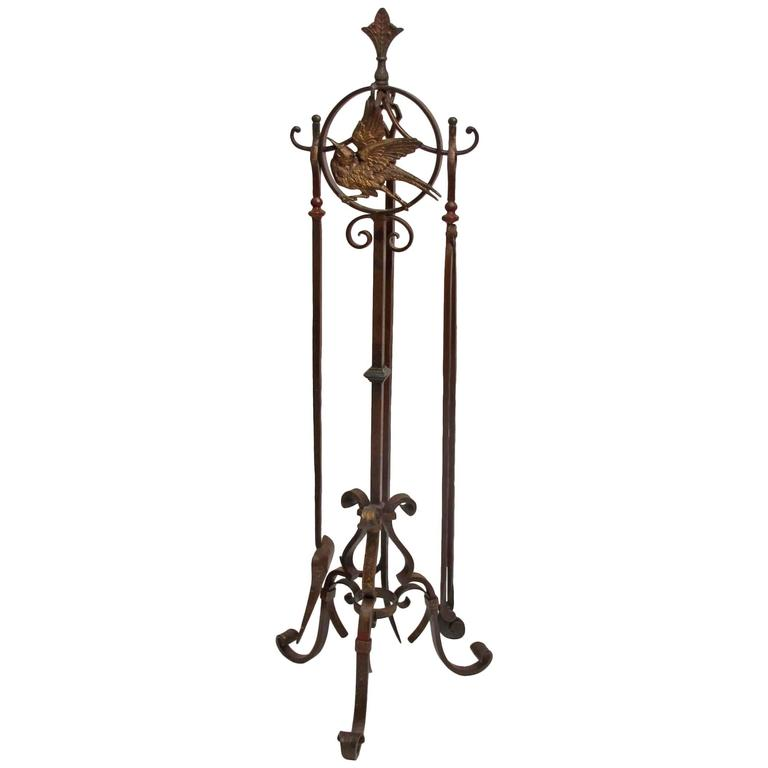 Arts and crafts iron fireplace stand and tools at 1stdibs for Arts and crafts tools