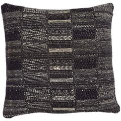 Indian Handwoven Pillow in Black and Ivory