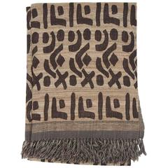 Indian Hand Woven Throw.  Oatmeal and Brown.  Kuba Design.  Wool and Raw Silk.