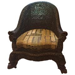 Fine Anglo-Indian antique hand carved  high back armchair,  1880