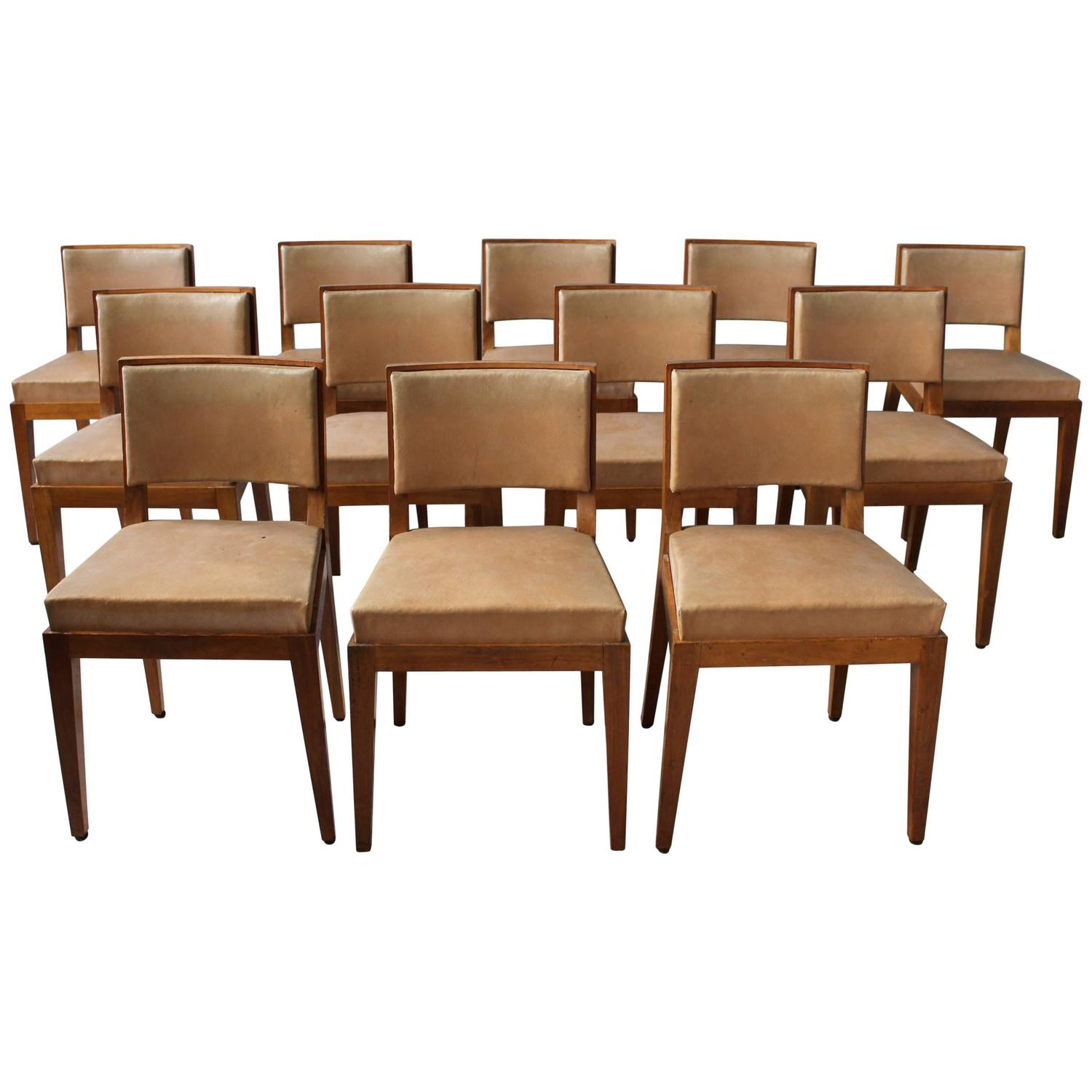Set Of 12 Fine French Art Deco Walnut Dining Chairs At 1stdibs