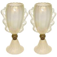 Barovier Toso 1970s Italian Pair of Vintage Gold and Pearl White Glass Lamps