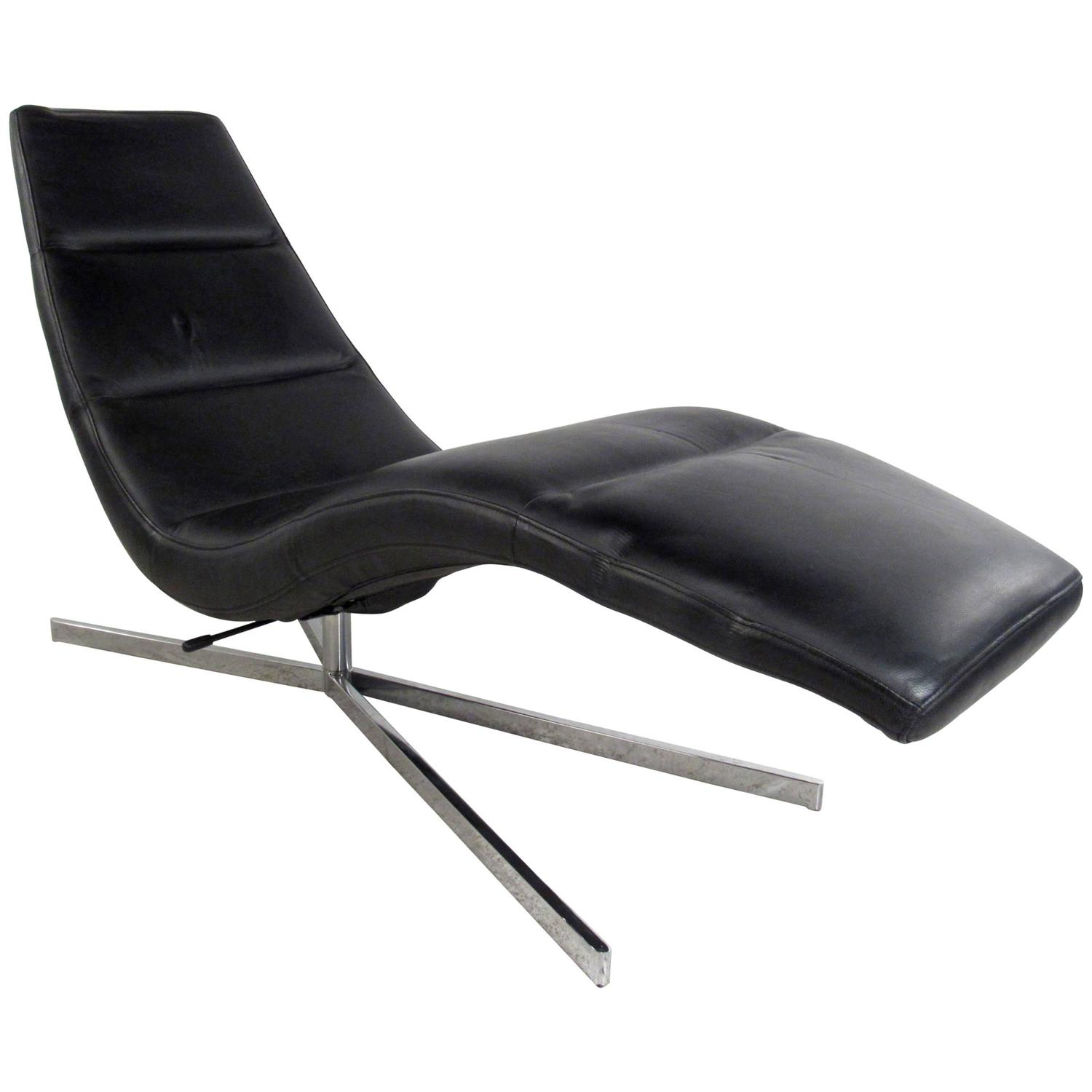 Danish modern leather chaise lounge swivel lounge chair for Chaise leather lounges