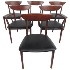 Six Mid-Century Modern Walnut Dining Chairs