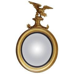 American Federal Gilt Acanthus Convex Mirror with Perched Eagle, Circa 1810