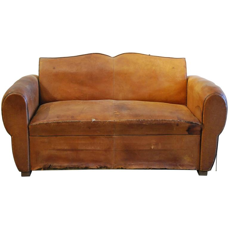 French Leather Sofa 1920 For Sale At 1stdibs