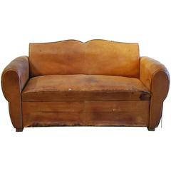 French Leather Sofa, 1920