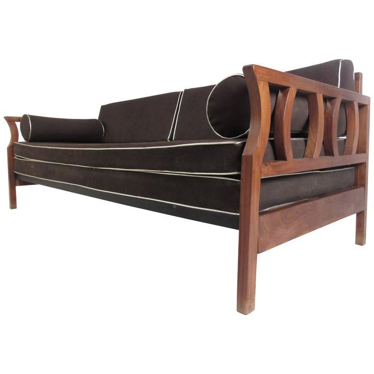 Vintage Mid Century Modern Sofa: Vintage Walnut Frame Sofa, Mid-Century Modern Sculptural