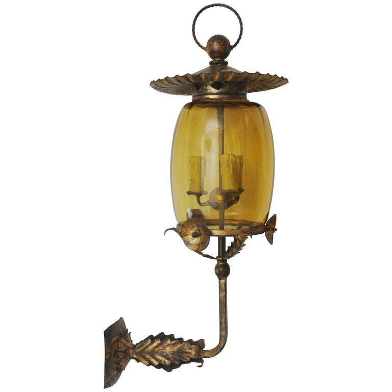 Japanese Wall Sconces: Asian Style Gilt Metal Single Sconce At 1stdibs