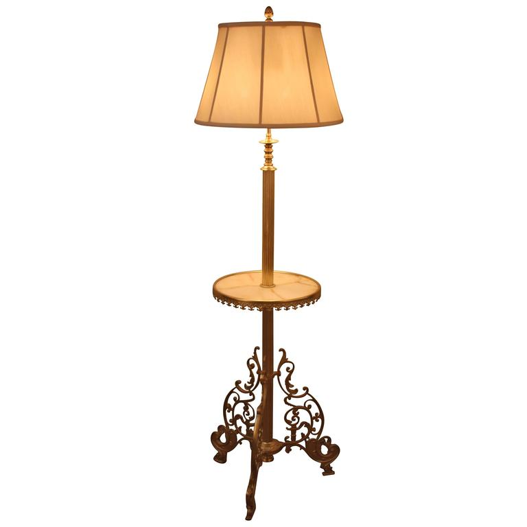 french 19th century bronze floor lamp with tray at 1stdibs