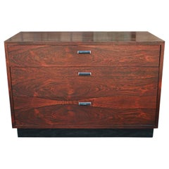 Modern Rosewood Chest or Side Table by Harvey Probber with Black Lacquered Base