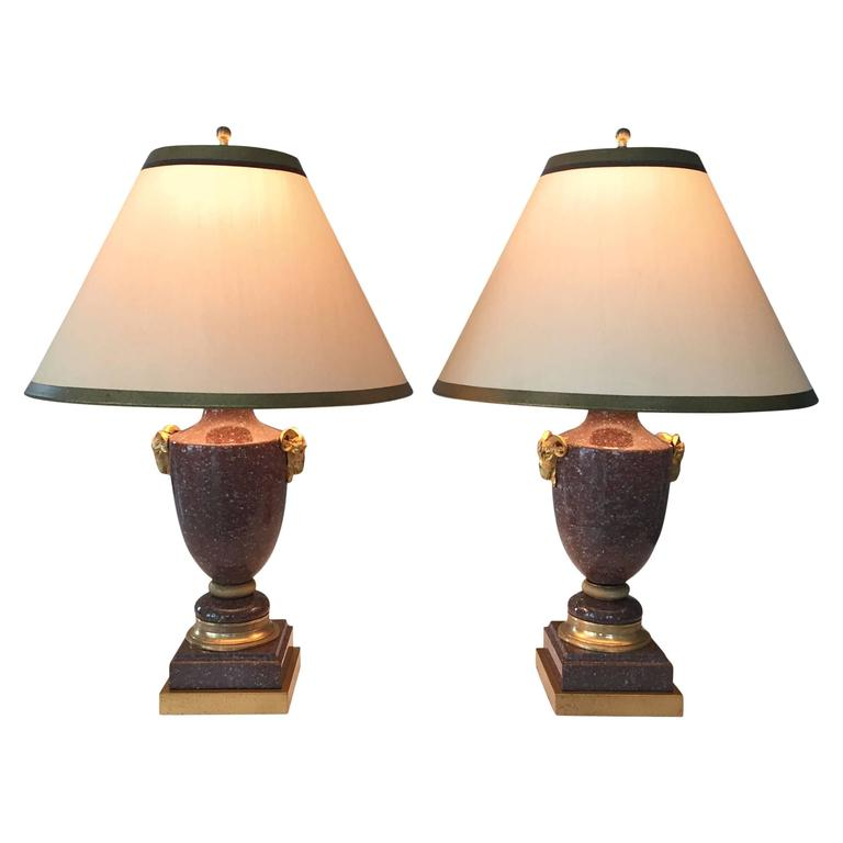 Pair of 19th Century French Empire Porphyry and Gilt Bronze Lamps 1