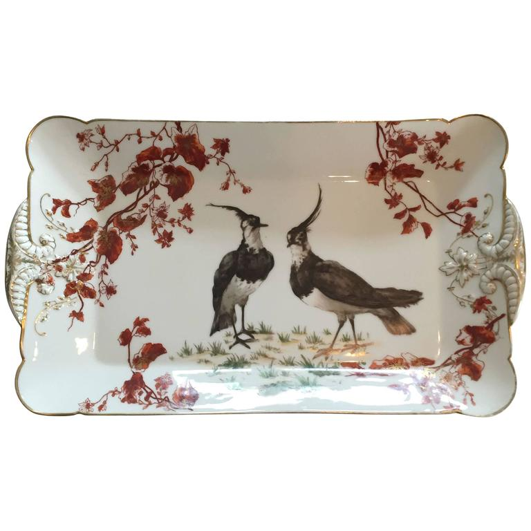 Charles Field Haviland Limoges Hand-Painted Platter with 14-Karat Gold Accents For Sale