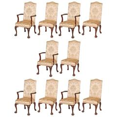 Ten George III Style Carved Mahogany Dining Chairs