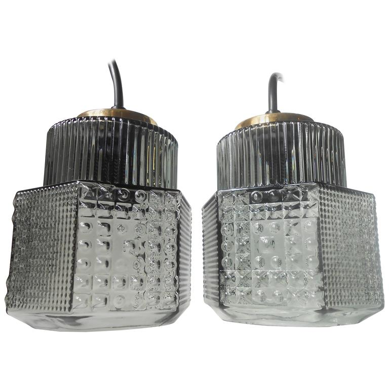 Pair of Smoke Grey Glass Pendant Lamps by Vitrika, Denmark, Danish Mid-Century