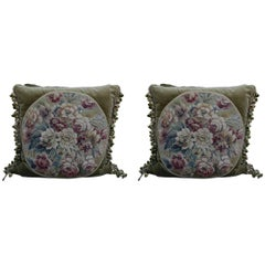 Pair of 19th Century French Aubusson Pillows