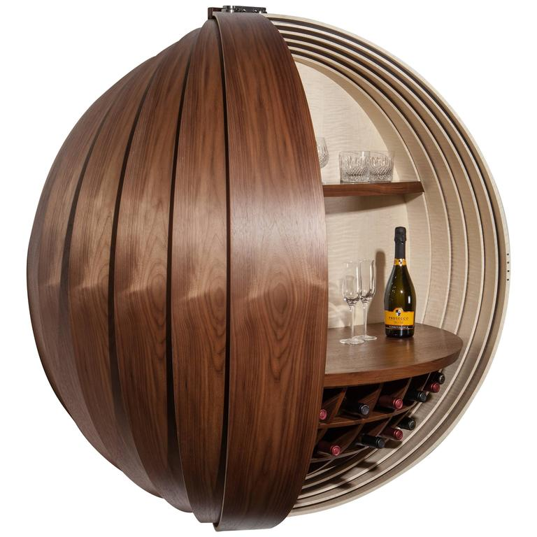 Contemporary Walnut Drinks Cabinet Or Dry Bar Wall