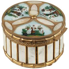 Mother-of-Pearl and Bronze Perfume Box with Scenes from the Far East