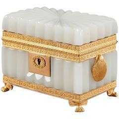 Charles 'X' White Opaline Jewelry Box, 19th Century