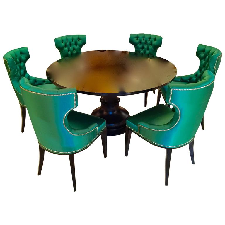 Very elegant dining table and six chairs padded satin for Very small dining sets